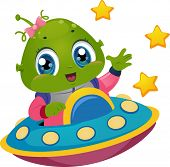Illustration Featuring an Alien Girl Driving a Spaceship