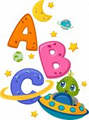 Educational Illustration Featuring an Alien in a Spaceship Surrounded by Letters of the Alphabet