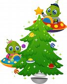 Illustration Featuring Little Aliens Decorating a Christmas Tree