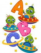 Illustration Featuring Little Aliens in Spaceships Driving Around the Letters of the Alphabet
