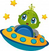 Illustration Featuring an Alien Boy Driving a Spaceship