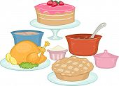 Illustration Featuring Food Commonly Brought on Potluck Parties