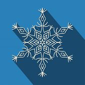 Long shadow filigree snowflake icon