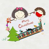 Cute little kids holding board decorated with Xmas tree and other ornaments for Merry Christmas celebrations.