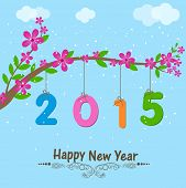 Happy New Year greeting card with colorful text 2015 hanging from beautiful branch of flowers on nature view background.