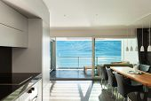Architecture, Interior, modern apartment, wide dining room