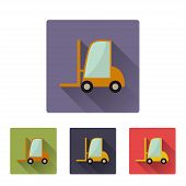Flat long shadow icon of loader