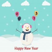Cute snowman holding colorful balloons with text 2015 on snow covered winter background for Happy New Year celebrations.