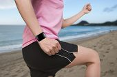 Sport Female Wearing Smartwatch With Bright Pink Watchband