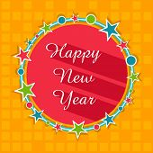 Greeting card design with Happy New Year text in stars decorated beautiful frame on stylish yellow background.