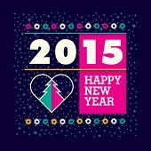 New Year greeting card design. Vector illustration.