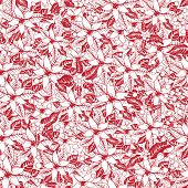 Silhouette Red poinsettia.Christmas seamless pattern