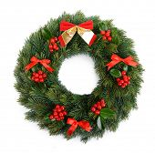 pic of mistletoe  - Christmas decorative wreath with leafs of mistletoe isolated on white - JPG