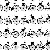 Vintage Black Bicycles, Seamless Pattern Black And White. Vector
