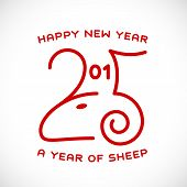 Happy New Year 2015 Creative Greeting Card Design With Sheep Profile