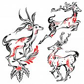 Tattoo Style reindeer on Holy Christmas Background