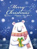 Lovely Hand Drawn Polar Bear Holding A Gift