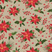 Christmas seamless pattern. Red poinsettia,holly,pine