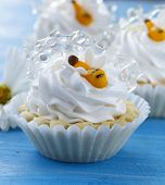 sweet lemon tartlets with whipped cream and honey