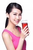 Young Happy Woman Drink Juice