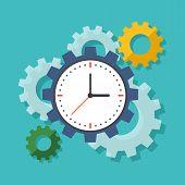 Time Management Concept. Flat Design Stylish.