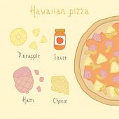 Hawaiian pizza ingredients.