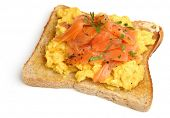 Scrambled eggs and smoked salmon on toast.