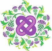 Celtic Knot Surrounded By Flowers Thistle.eps