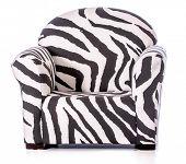 zebra print sofa chair isolated on white background