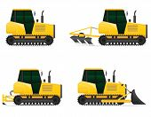 Set Icons Yellow Tractors Vector Illustration