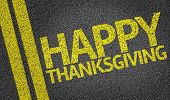 Happy Thanksgiving written on the road