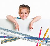 cute happy little girl  on education  background