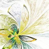 Beautiful Flower Pattern In Stained-glass Window Style. Yellow And Green Palette. Computer Generated