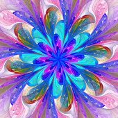 Symmetrical Pattern In Stained-glass Window Style. Pink And Blue Palette. Computer Generated Graphic