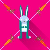 Rabbit with carrots flat icon with long shadow,eps 10