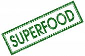Superfood Green Square Stamp Isolated On White Background