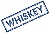 Whiskey Blue Square Stamp Isolated On White Background