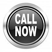 call now icon, black chrome button