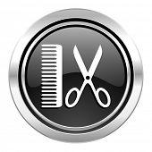 barber icon, black chrome button