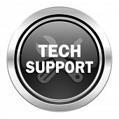 technical support icon, black chrome button