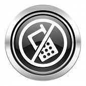 no phone icon, black chrome button, no calls sign