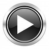 play icon, black chrome button