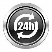 24h icon, black chrome button