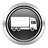 delivery icon, black chrome button, truck sign