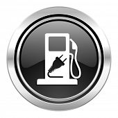 fuel icon, black chrome button, hybrid fuel sign