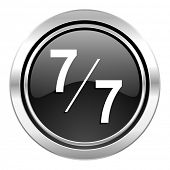7 per 7 icon, black chrome button