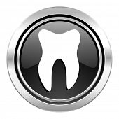 tooth icon, black chrome button