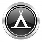 camp icon, black chrome button