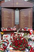 Liverpool, Uk, April 15 2014 - Flowers Laid To Commemorate The 25Th Anniversary Of The Hillborough D