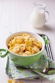 Cornflakes In Bowl On Table